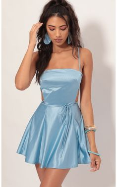 Nina Satin Cutout A-line Dress In Blue - Style: This stunning blue satin dress is a real show-stopper. Features a classy square neck - Hoco Dresses, Dance Dresses, Homecoming Dresses, Pretty Dresses, Girls Dresses, Blue Dress Outfits, Sexy Outfits, Blue Satin Dress, Satin Dresses