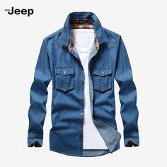 3d31056d70 Fashion Men Cowboy Cotton Casual Shirts Long Sleeve Shirt Men Business  Fashion Blue Old Brand Dress Shirt