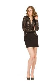 PD-7623 - V-Neck Long Sleeve Lace Detail Dress - Colors: As Shown - Available Sizes:XS-XXL - Catalog Page:45