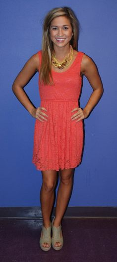 Coral lace dress adorable I need for spring