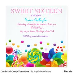 Candyland candy Theme Sweet 16 Invite Candy Invitations For Sweet