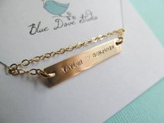 Sterling or Gold Bar NecklaceChildren Names by BlueDoveStudio, $40.00