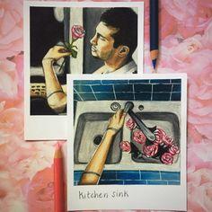 Kitchen Sink  Print of Polaroid Drawing by thisismyshopbye on Etsy