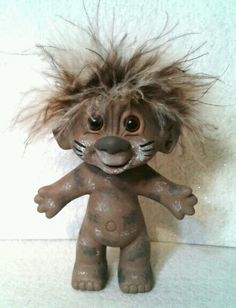 Tabby cat Troll Doll out Trick or Treating