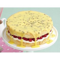 Raspberry sponge with passionfruit icing recipe   FOOD TO LOVE