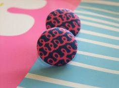 Navy blue pink swirl earrings fabric button cotton handmade post for pierced ears on Etsy, $7.00