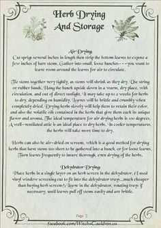 Herbs:  #Herb Drying and Storage Page 2 of 3.