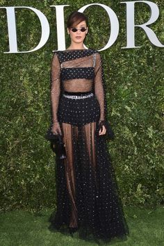 Paris Haute Couture Week 2017 Celebrity Photos - Bella Hadid in a sheer Dior dress