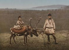 Indigenous Scandinavian Sami people - a father, a son, and their reindeer - circa 1890