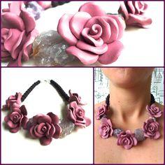 flores rosas y cuarzos