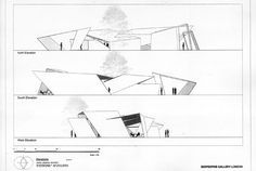 """South-North Section - Serpentine Gallery Pavilion 2001: """"Eighteen Turns"""" , Daniel Libeskind"""