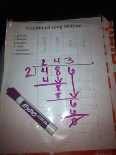 Such a fantastic idea. Take a dry eraser marker, plastic sleeve and insert the l., EDUCATİON, Such a fantastic idea. Take a dry eraser marker, plastic sleeve and insert the long division paper and you have a mini white board for you child to pr. Math Strategies, Math Resources, Math Activities, Long Division Strategies, Long Division Activities, Fraction Activities, Math Teacher, Math Classroom, Teaching Math