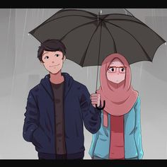 Payung by SaikoJay Love Cartoon Couple, Cute Love Cartoons, Cute Couple Drawings, Cute Couple Art, Cute Muslim Couples, Cute Couples, Cover Wattpad, Muslim Images, Moslem