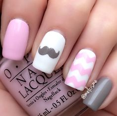 Pink, Grey and White Mustache Mani