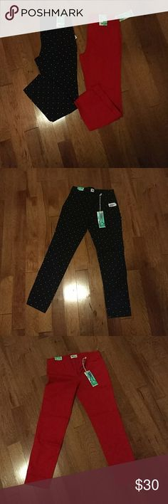 2 pair of old navy pixie pants. New with tags. Size 6. One red the other black with white polka dots Old Navy Pants Ankle & Cropped