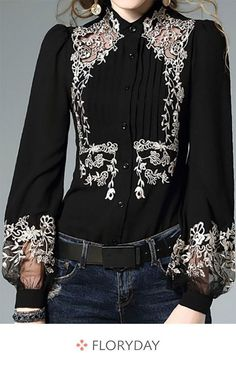 Floral Elegant High Neckline Long Sleeve Blouses - How To Be Trendy Womens Fashion Online, Latest Fashion For Women, Pretty Outfits, Beautiful Outfits, Look Fashion, Fashion Design, Looks Black, Mode Inspiration, Mode Outfits