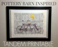 Pottery Barn Inspired Tandem Art {Free Printable} | www.inspirationformoms.com #potterybarn #wallart #tandem