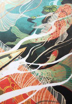 Koi Dance - product images of Art Koi, Fish Art, Art And Illustration, Painting Inspiration, Art Inspo, Koi Kunst, Kunst Inspo, Art Japonais, Guache