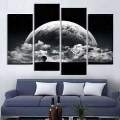 Close-up View Of Planet Painting - 4 Piece Canvas