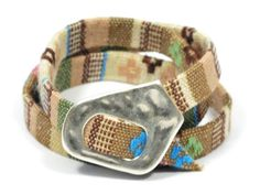 pastel green ethnic fabric bracelet * triple wrap ethnic woven bracelet * aztec fabric bracelet * gift for mom * surfer girl braclet by CozyDetailz on Etsy