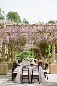 beautiful table under an arbor with wisteria