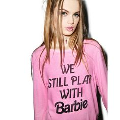 """Wildfox """"We Still Play With Barbie"""" Sweatshirt NWT Wildfox Pink """"we still play with Barbie"""" sweatshirt. The coziest sweater ever !!  RARE AND OUT of stock  for all of us Barbie lovers  Rayon/polyester/spandex Machine wash Made in USA Crewneck, long sleeves, printed graphic Pullover Wildfox Tops Sweatshirts & Hoodies"""