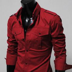 Mens Casual Slim Fit Strap Big Pocket Shirts RED WINE.... Oh my.
