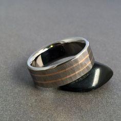 """Titanium & 18k Solid Rose Gold Ring """"Sequoia"""" Wood Grain Finish"""