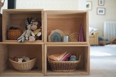 kids toy storage with books on top waldorf inspired minimal toys