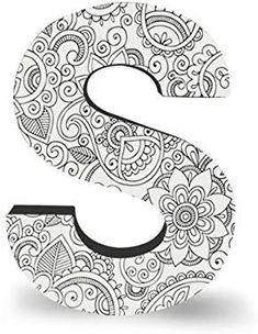 ColorJoy Coloring Products, Large Wall Hanging, Block Letter S Mandala Art Lesson, Mandala Drawing, Mandala Coloring Pages, Coloring Book Pages, Doodle Art Letters, Free Adult Coloring, Hanging Letters, Alphabet Art, Block Lettering