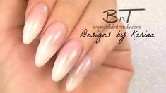French Fade / Ombre French / Baby Boomer Almond Acrylic Nails - Three Co...