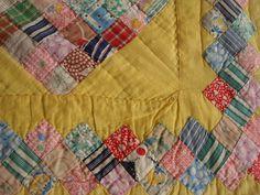 """CZ Vintage Yellow Around The World 49 Patch 1"""" Postage Stamblocks Quilt 66x78""""   eBay"""