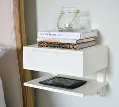 mount these on side of closet. this comes in gray too. CYBER MONDAY DEAL!! ENTER CODE CYBERMON101 for 10% discount!!! Solid beech bedside table. Attaches to the wall to maximise space use in small