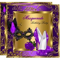 Shop Masquerade Gold Purple Black Glitter High Heels Invitation created by Zizzago. Masquerade Party Centerpieces, Gold Party Decorations, Masquerade Decorations, Masquerade Invitations, Balloon Centerpieces, Birthday Decorations, Wedding Centerpieces, Elegant Birthday Party, Gold Birthday Party