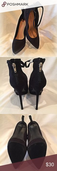 Justfab Black faux suede platform stilettos  NEW! Brand new Justfab Emily Stilettos. Faux black suede. 51/2 inch heels with a 1 inch platform. Zipper up the back of the shoes. Ankle strap! JustFab Shoes Heels