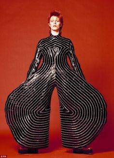 Outrageous: Japanese designer Kansai Yamamoto designed this striped vuinyl bodysuit for the singer