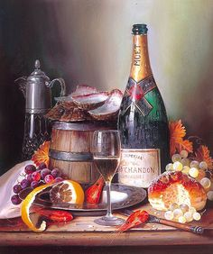 Moet - Oil paint painting by numbers diy picture drawing coloring on canvas painting by hand wall paint by number landscape 6413 Still Life Artists, Paint By Number Kits, Wine Art, Painting Still Life, Paint Set, Pictures To Draw, Diy Food, Diy Painting, Figure Painting