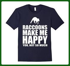 Mens Raccoons Make Me Happy Funny Animal Gift T-Shirt Medium Navy - Animal shirts (*Amazon Partner-Link)