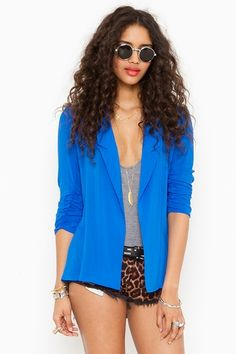 """Touch of Drama""    Chiffon Back Blazer in Blue  http://www.nastygal.com/clothes%2Douterwear/chiffon%2Dback%2Dblazer%2Dblue?utm_source=pinterest&utm_medium=smm&utm_campaign=pinterest_nastygal"
