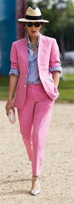URBAN[spring]: Pink Suit with striped shirt