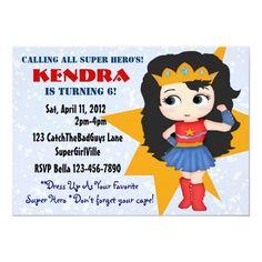 Superhero Girl Invitation Superhero Party Invitations, Girl Superhero Party, Kids Birthday Party Invitations, Art Birthday, Birthday Ideas, Fourth Birthday, Birthday Stuff, Birthday Parties, Kids Party Supplies