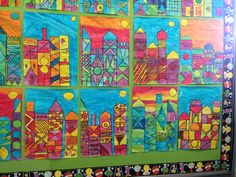 Paul Klee style city scape by grade 5