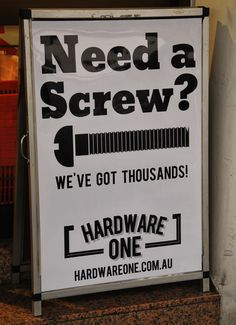 Need A Screw - Funny Hardware Sign | The Travel Tart Blog