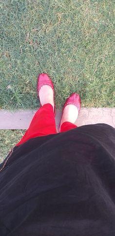 Red shalwar and black kurta with red kussa.  It's me. 🙂❤ Fur Slides, Desi, Sandals, Shoes, Black, Fashion, Slide Sandals, Moda, Shoes Sandals
