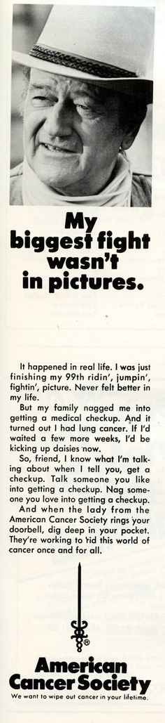 AMERICAN CANCER SOCIETY - Advertisment by John Wayne