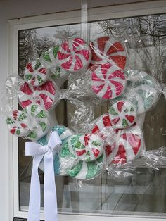 Peppermint Candy Wreath - Crafts by Amanda Christmas Candy, All Things Christmas, Christmas Holidays, Christmas Decorations, Christmas Swags, Whimsical Christmas, Burlap Christmas, House Decorations, Country Christmas