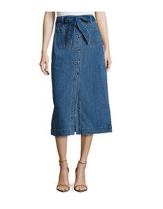 Cotton Denim Long Skirt - on #sale 41% off @ #Gilt