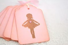 Ballerina Gift Tags Birthday Baby Shower Favor Tags Vintage Silhouette