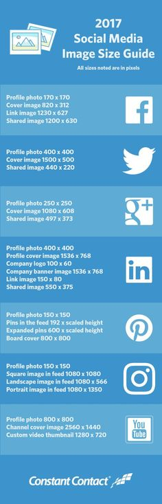 "SOCIAL MEDIA - Social Media 2017 Image Sizes Guide (""Are you using the right social media image sizes for Facebook, Twitter, Instagram, LinkedIn, Pinterest, Google+, and YouTube? Use our size guide to be sure!"")"