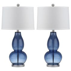 Safavieh Mercurio Standard Lamp Set with Off-white Shades at Lowe's. Old meets new in the Mercurio double gourd table lamp, with its classic shape and sparkling blue glass accented with chrome fittings. This set of two Blue Table Lamp, Table Lamp Sets, Colored Glass Vases, Gourd Lamp, Standard Lamps, Crackle Glass, Light Bulb Bases, Lamp Light, Drum Shade